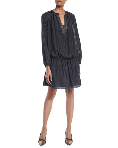 Monili V-Neck Long-Sleeve Dropped-Waist Silk Mini Dress