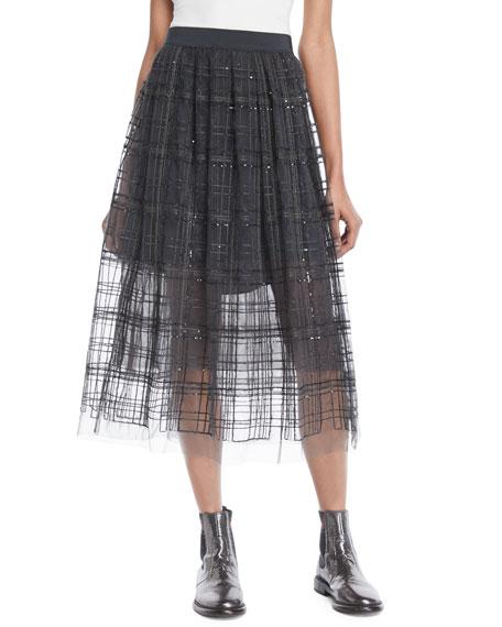 Brunello Cucinelli Tulle Skirt in Paillette Plaid