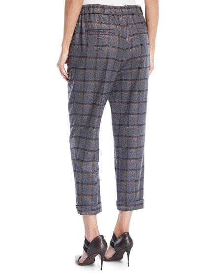 Metallic Plaid Wool Pull-On Pants w/ Grosgrain Tie