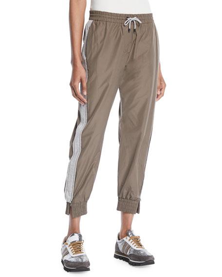 Taffeta Cropped Jogger Pants w/ Tux Stripe