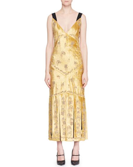 Erdem Palmer Sleeveless Beaded-Embroidered Velvet Cocktail Dress