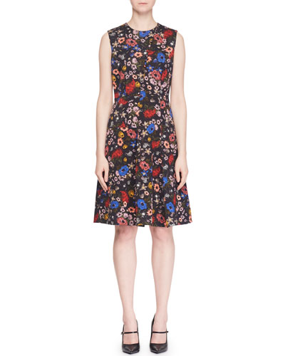 Yesim Sleeveless Floral-Print Button A-Line Dress
