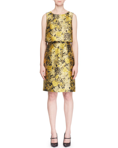 Hoshie Sleeveless Floral-Jacquard Cocktail Dress