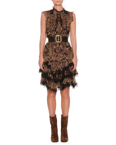 Sleeveless Paisley-Print Silk Dress w/ Lace Trim