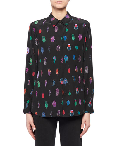 Feather-Print Silk Crepe Button-Up Blouse