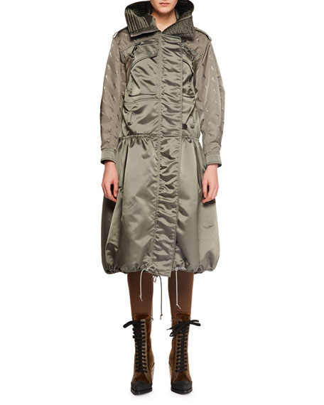 Chloe Belted Shiny Nylon Canvas Knee-Length Coat w/