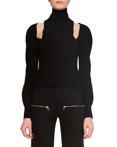 Turtleneck Cutout-Shoulder Long-Sleeve Knit Cashmere Sweater