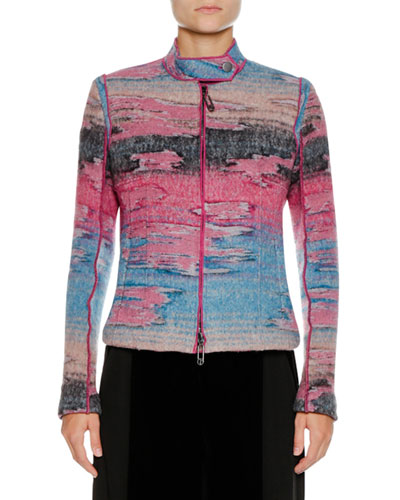 Multicolor Watercolor Zip-Front Wool-Blend Jacket