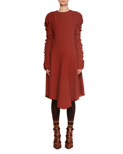 Ruffle Long-Sleeve Crepe A-Line Midi Dress