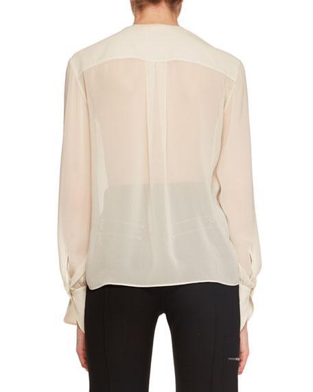 Long-Sleeve Lace-Front Chiffon Blouse