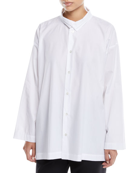 Two-Collar Button-Front Long-Sleeve Slim A-Line Poplin Shirt