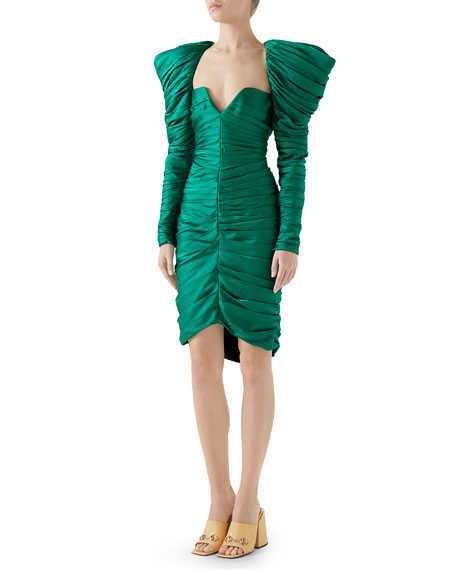 Gucci Long-Sleeve Gathered Hammered Matte Satin Cocktail Dress