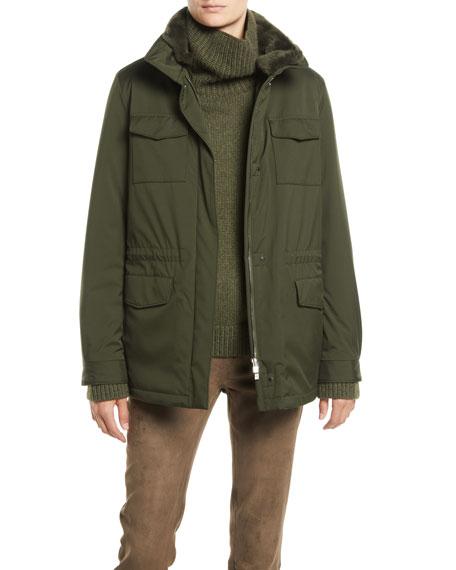 Zip-Front Four-Pocket Nylon Traveler Coat w/ Nutria Fur