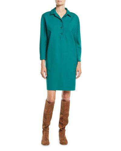 Joana Button-Placket Long-Sleeve Shift Dress