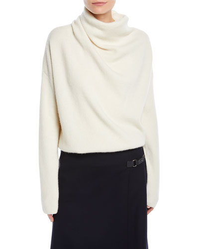 Reswick Cowl-Neck Long-Sleeve Cashmere Sweater