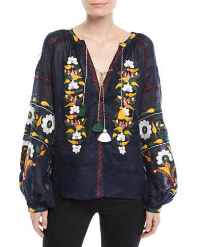 Split-Neck Long-Sleeve Floral-Embroidered Linen Blouse