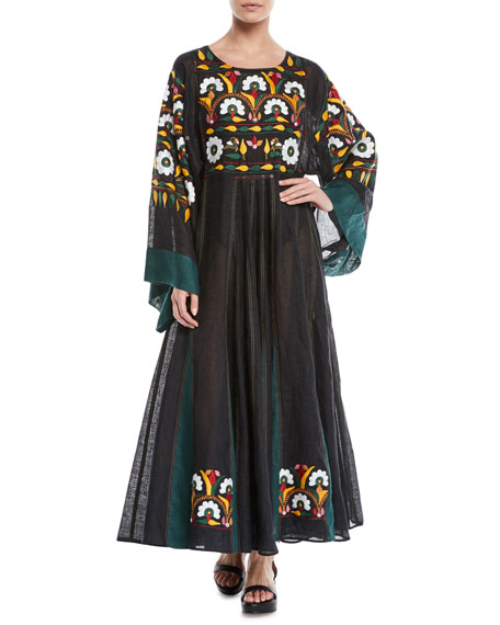 Round-Neck Long-Sleeve Floral-Embroidered Long Linen Dress
