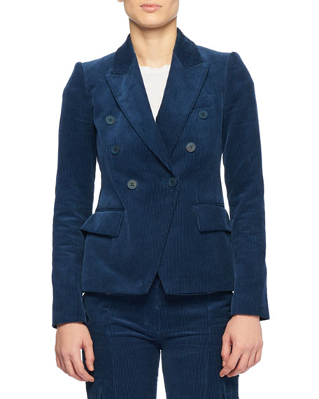 Double-Breasted Cotton-Corduroy Blazer, Blue