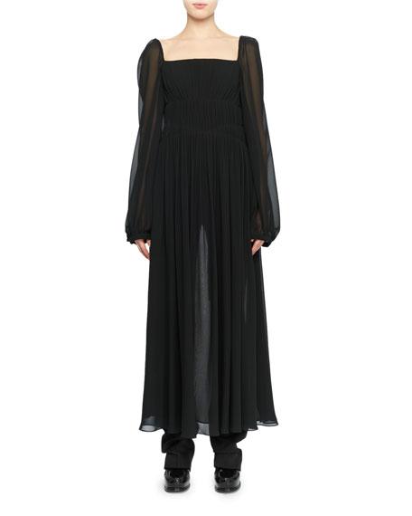 Open-Back Long-Sleeve Square-Neck Silk Boho Top, Black