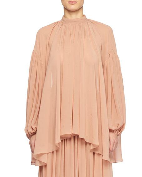 High-Neck Long-Sleeve Silk Peasant Blouse, Rose
