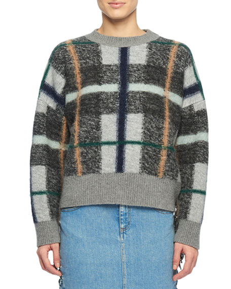 Oversized Fringed Plaid-Intarsia Wool Sweater in Grey