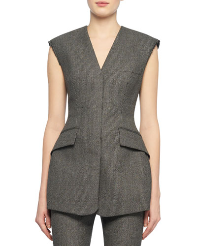 V-Neck Sleeveless Two-Pocket Fitted Wool-Blend Top