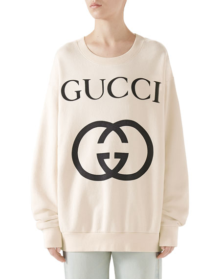 Heavy Felted Cotton Jersey Oversized Sweatshirt W/ Interlock Gg Print in Ivory