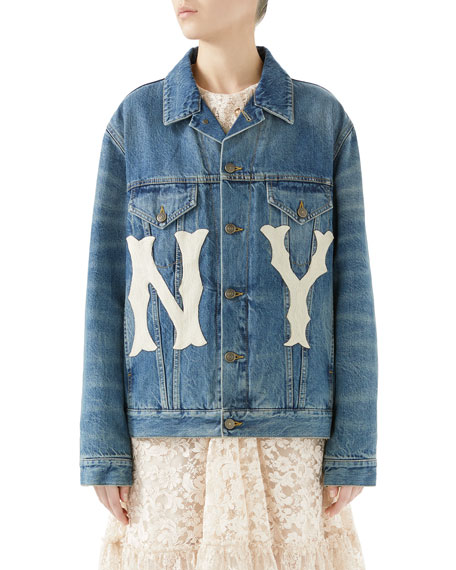 Stone-Washed Denim Jacket With Ny Yankees Mlb Patch, Blue Stonewashed Denim