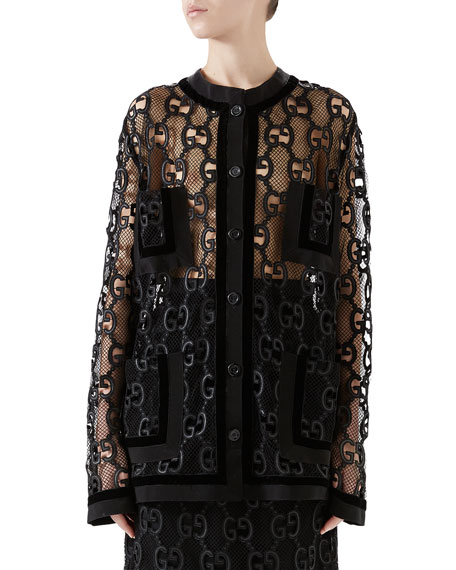 Velvet And Grosgrain-Trimmed Macramé Lace Jacket, Gg Leather Macramé