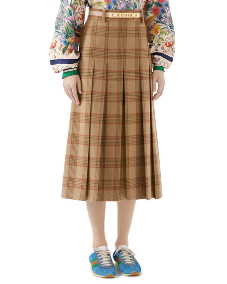 Pleated Hunting Check Wool Midi Skirt W/ Leather Belt in Beige