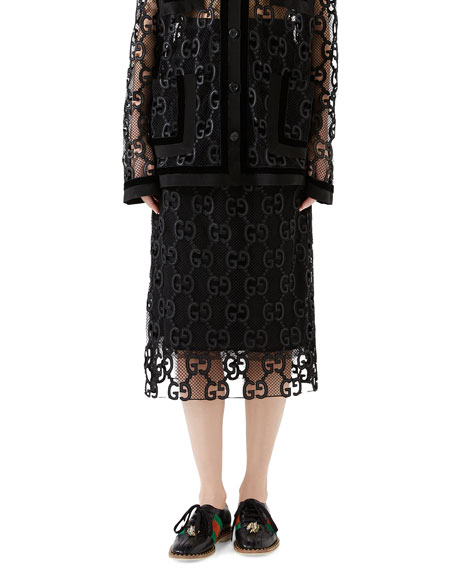 Velvet And Grosgrain-Trimmed Macramé Lace Midi Skirt in Black