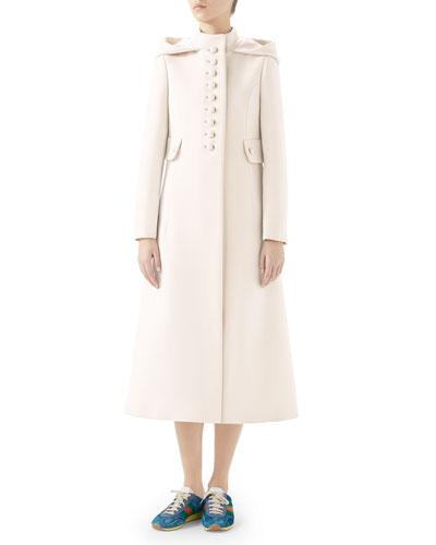 Gardenia Long Hooded Wool Coat