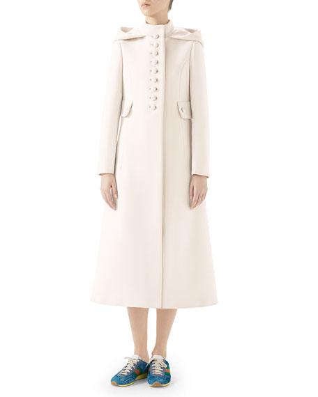 Gardenia Long Hooded Wool Coat, White Pattern