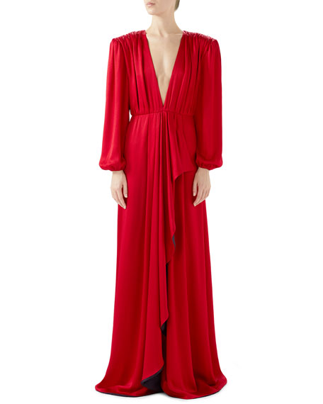 V-Neck Hammered Matte Satin Draped Wrap Evening Gown in 6123 Red