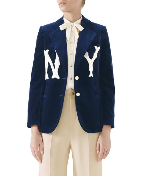 Two-Button Soft Cotton Velvet Jacket W/ Ny Yankees Mlb Patch in Blue