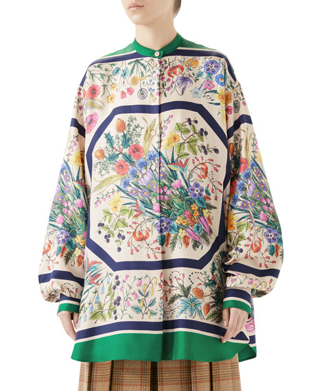Festival Floral-Print Silk Twill Guru Shirt in Multicoloured Floral Print