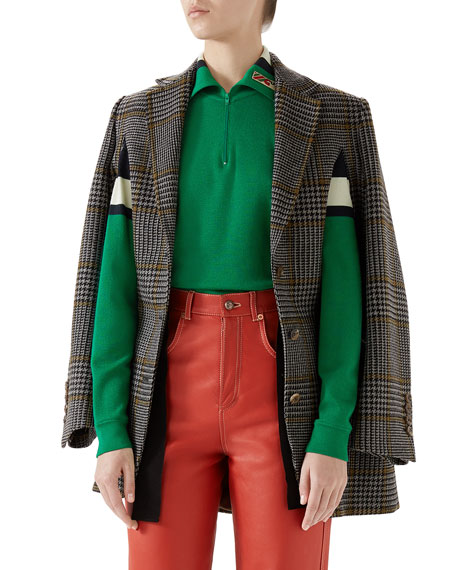 SINGLE-BREASTED PRINCE OF WALES CHECK WOOL CAPE JACKET