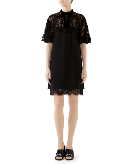A-Line Stretch-Jersey Dress With Floral-Lace Top & Hem in Black