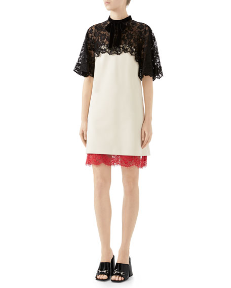 A-Line Stretch-Jersey Dress  with Floral-Lace Top & Hem