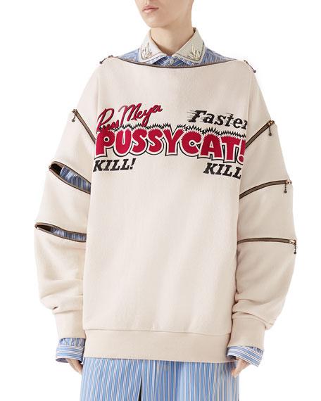 Faster, Pussycat! Kill! Kill!' Print Cotton Sweatshirt w/ Zip Details