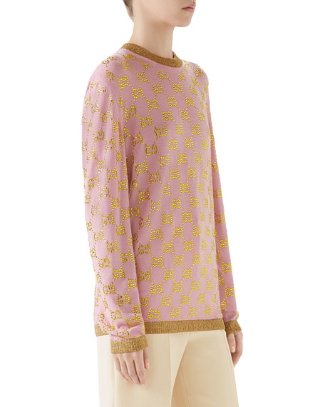 GG Beaded Jacquard Crewneck Fine Wool Sweater