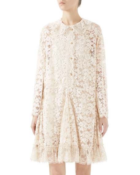 Long-Sleeve Button-Front Godet-Skirt Lace Dress