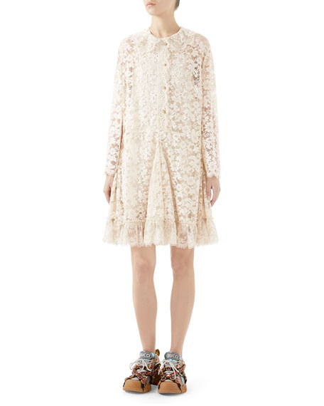 Gucci Long-Sleeve Button-Front Godet-Skirt Lace Dress
