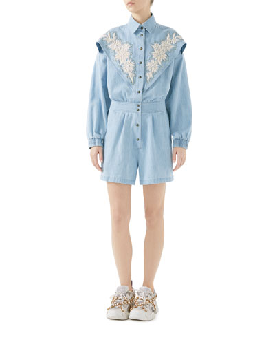 Long-Sleeve Bleached Denim Jumpsuit w/ Floral-Embroidery & NY Yankees Patch