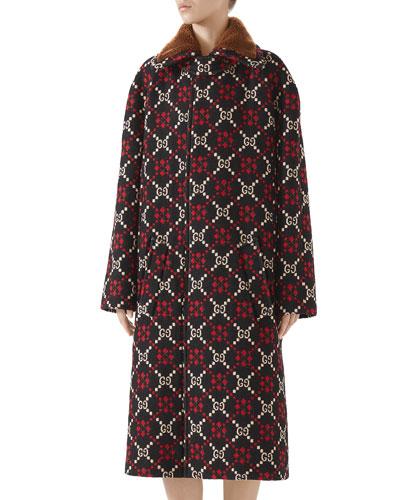 GG Jacquard Single-Breasted Calf-Length Wool Coat