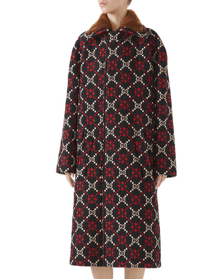 Gg Jacquard Single-Breasted Calf-Length Wool Coat in Brown