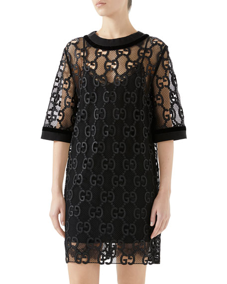 Elbow-Sleeve Gg Leather Macrame Netted Lace Boxy Dress in Black