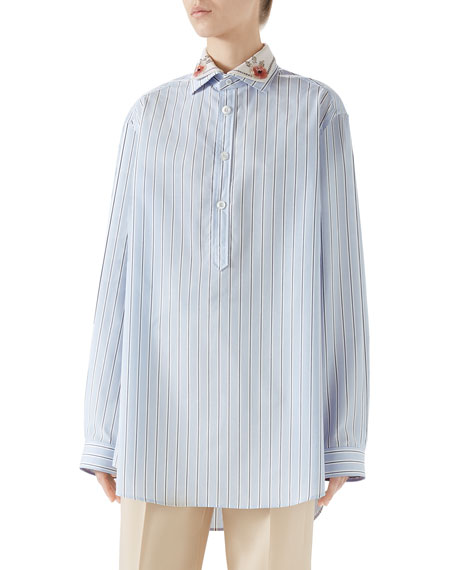 Embroidered Collar Button-Placket Long-Sleeve Striped Cotton Shirt in Blue