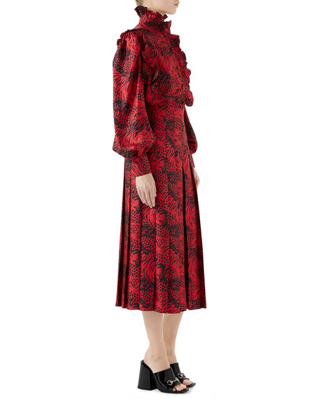 High-Neck Blouson-Sleeve Ruffled Tiger-Print Silk Twill Blouse