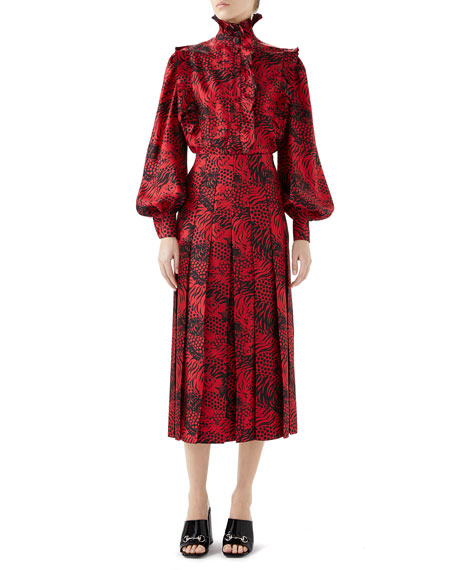 High-Neck Blouson-Sleeve Ruffled Tiger-Print Silk Twill Blouse, Red Pattern